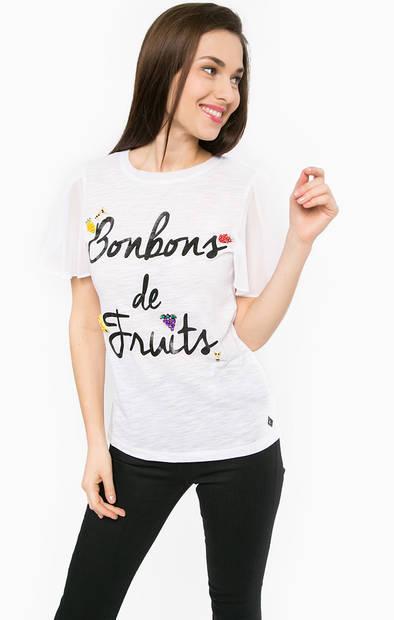 Белая футболка с контрастными рукавами