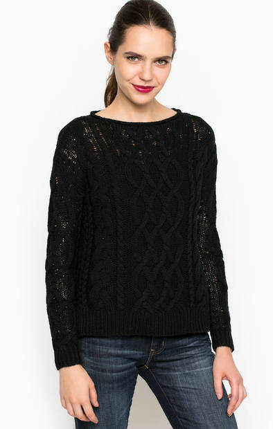 Черный вязаный хлопковый свитер
